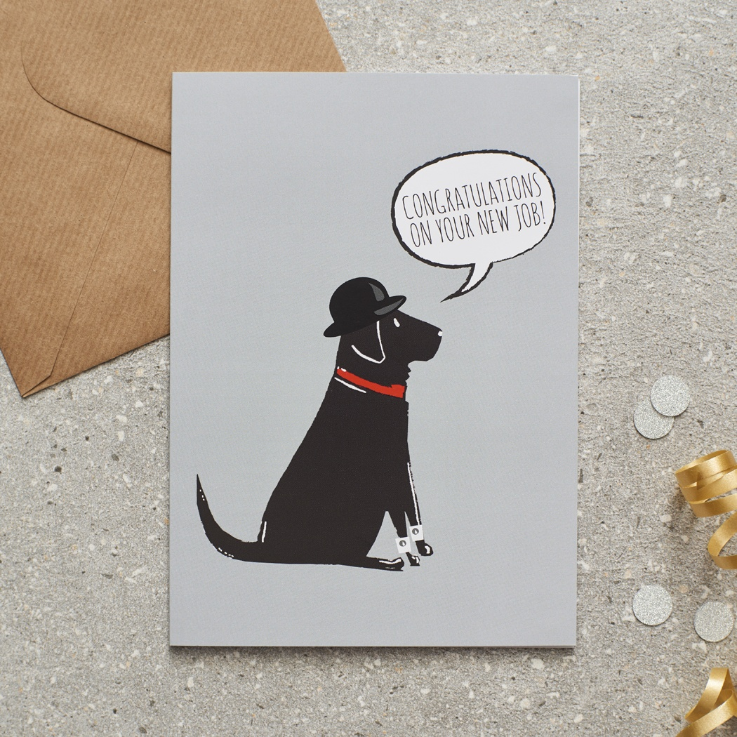 Black Labrador Congratulations New Job Card