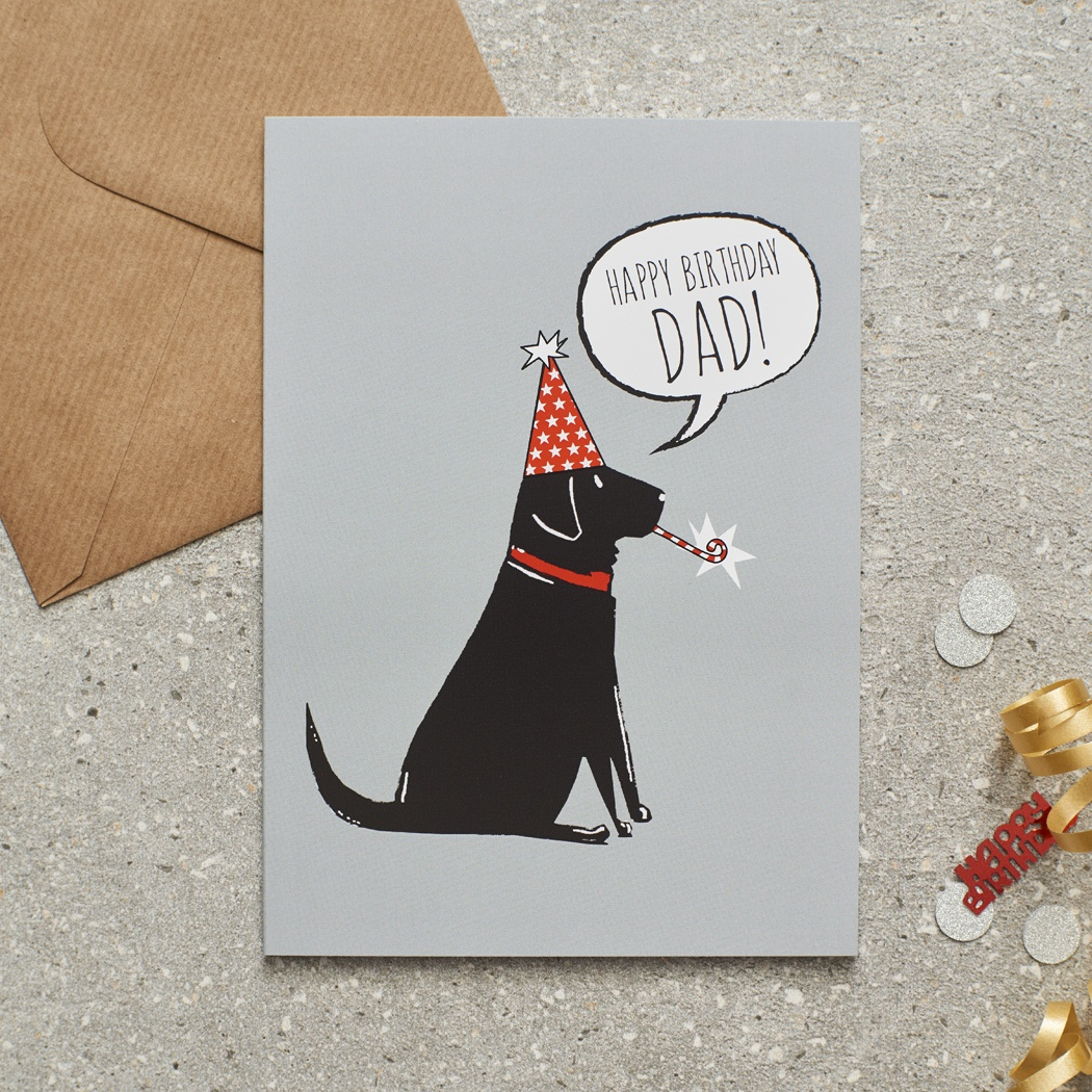 Black Labrador Happy Birthday Dad Card Mischievous Mutts Greeting Cards