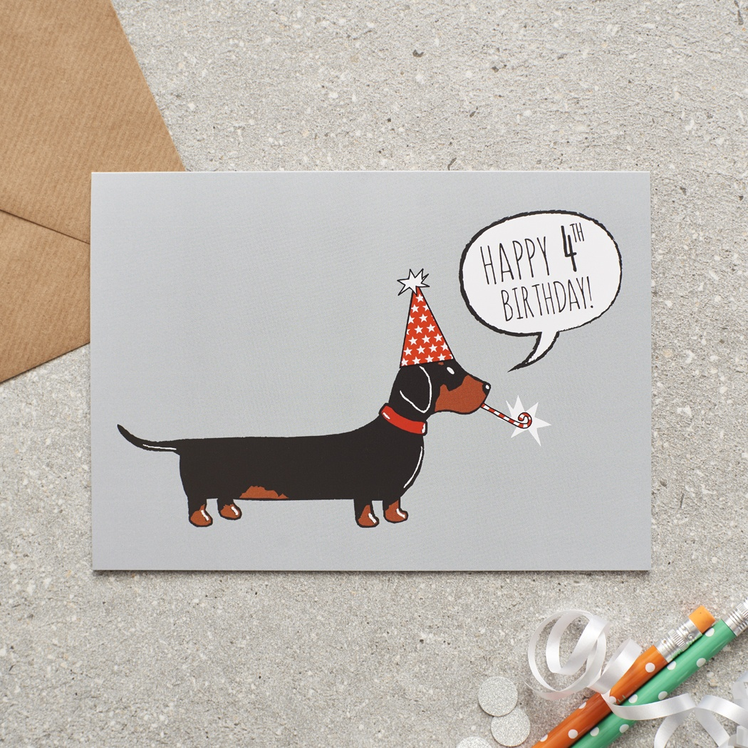 Dachshund 4th Birthday Card , Mischievous Mutts > Greeting Cards , Dachshund