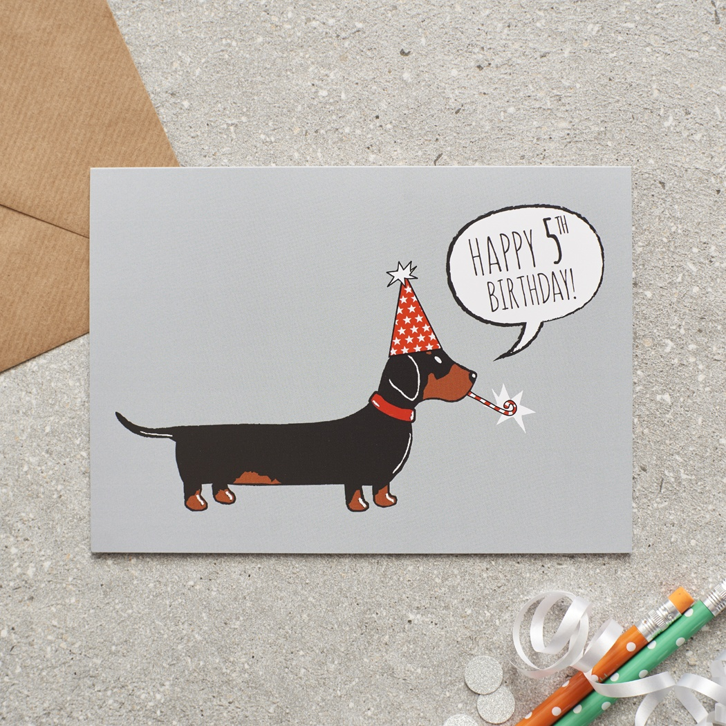 Dachshund 5th Birthday Card , Mischievous Mutts > Greeting Cards , Dachshund