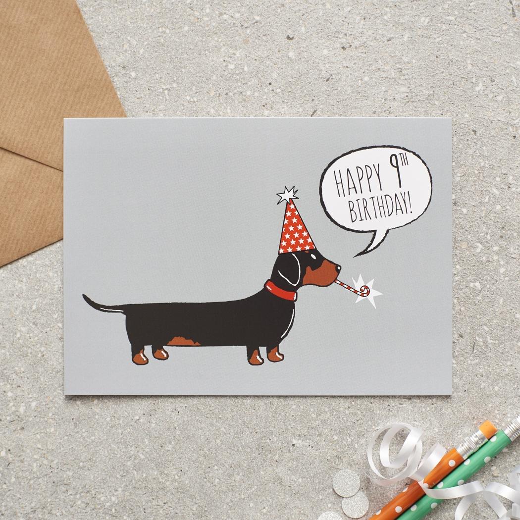 Dachshund 9th Birthday Card , Mischievous Mutts > Greeting Cards , Dachshund