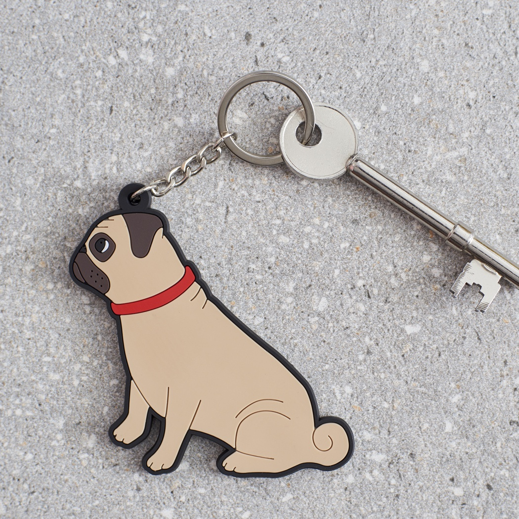 Pug Keyring , Mischievous Mutts > Keyrings , Pug
