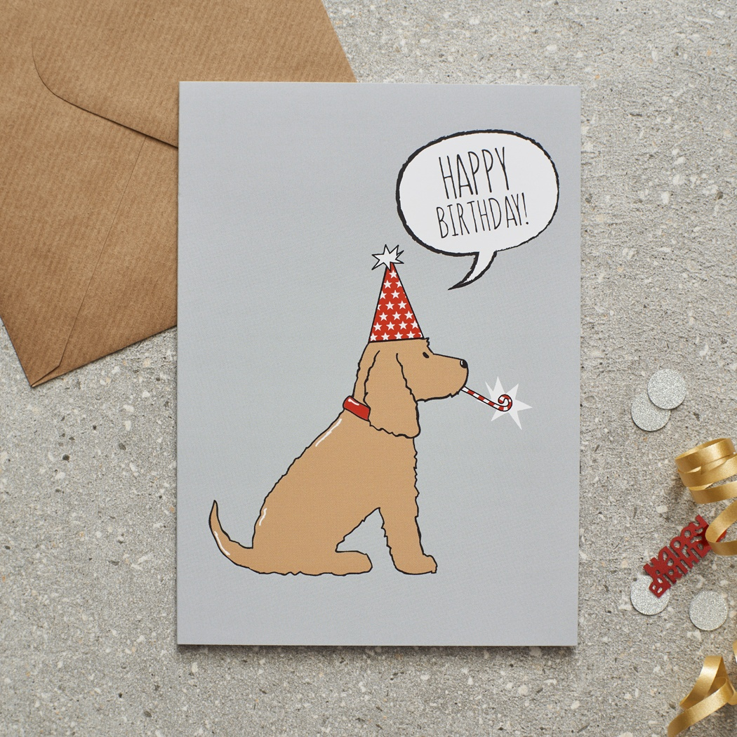 Golden Cocker Spaniel Birthday Card , Mischievous Mutts > Greeting Cards , Cocker Spaniel
