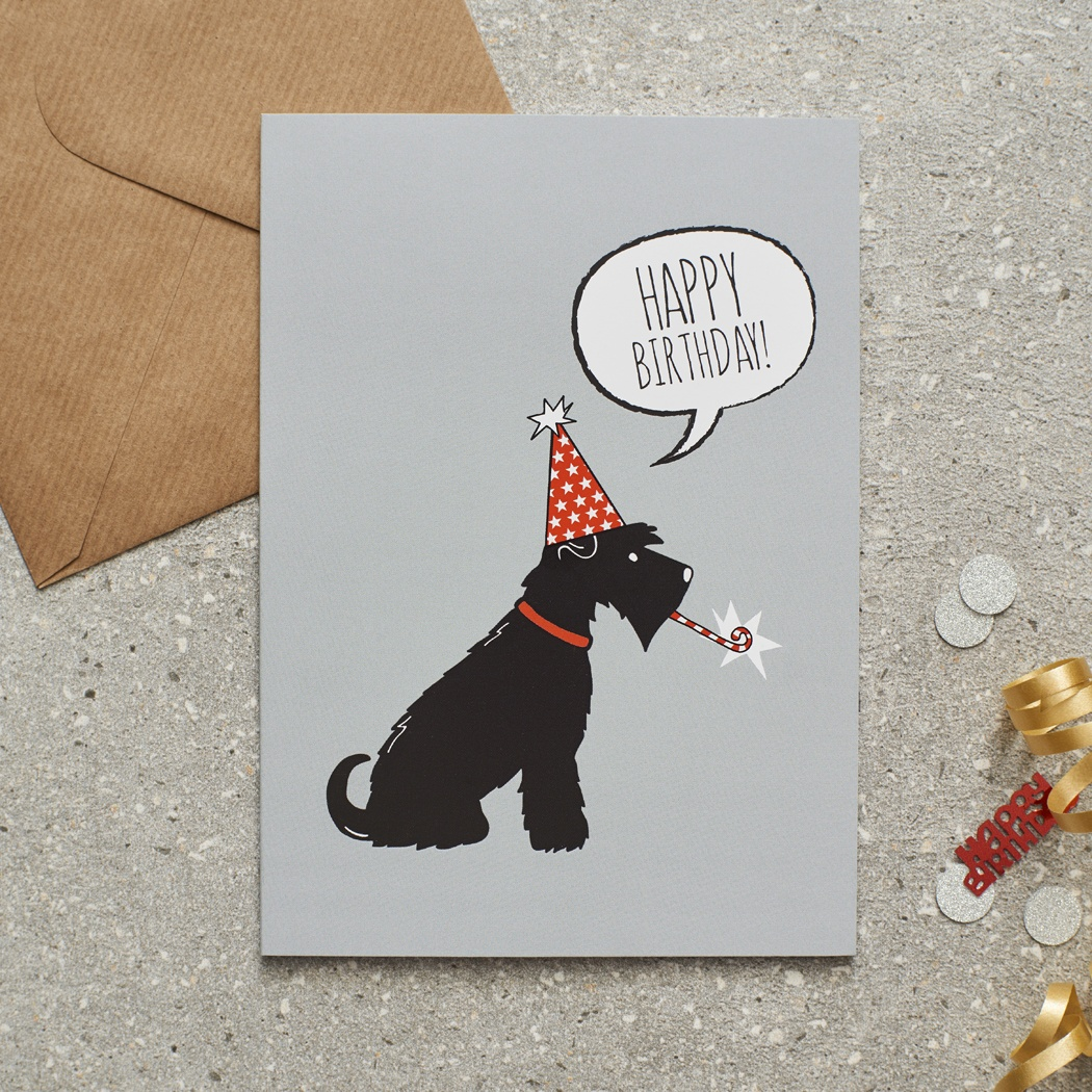 Black Schnauzer Birthday Card , Mischievous Mutts > Greeting Cards , Schnauzer