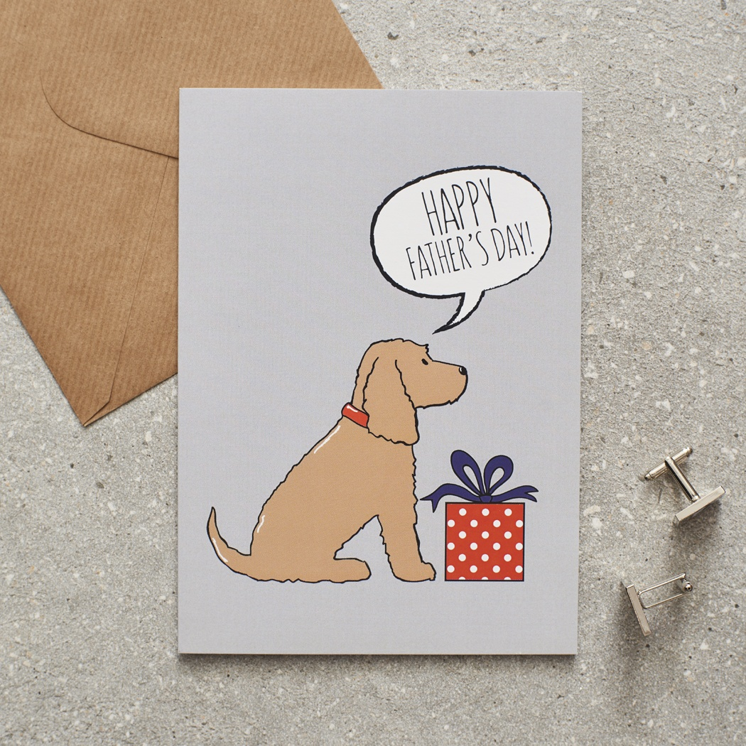 Golden Cocker Spaniel Father's Day Card , Mischievous Mutts > Greeting Cards , Cocker Spaniel
