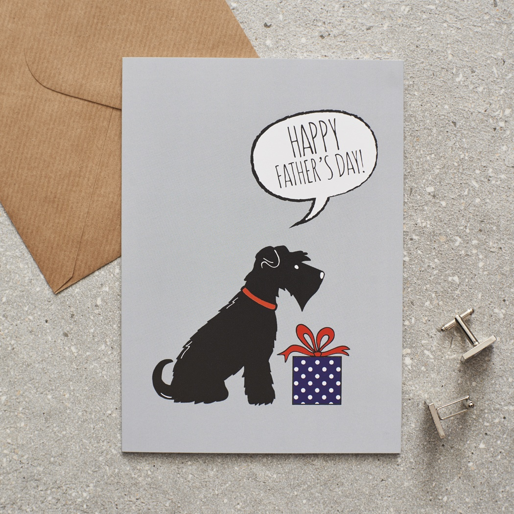 Black Schnauzer Father's Day Card , Mischievous Mutts > Greeting Cards , Schnauzer