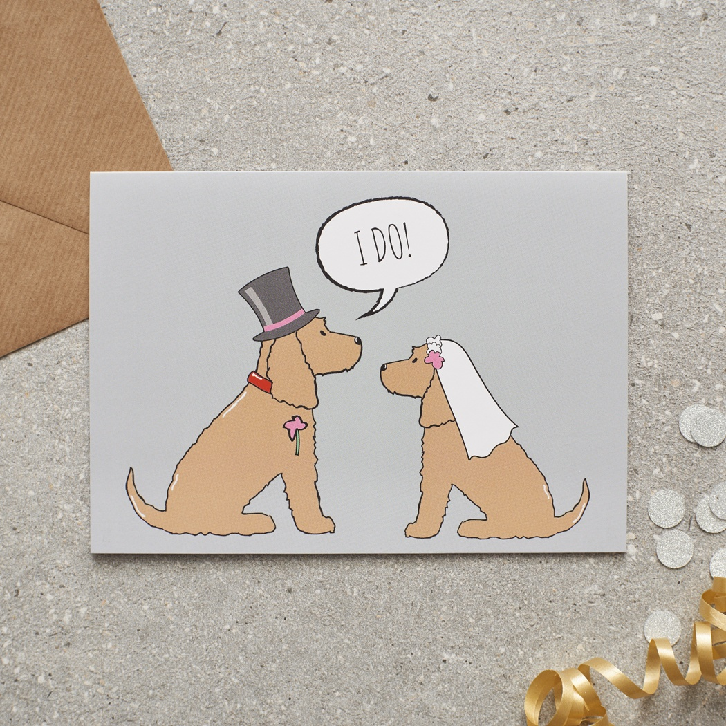 Golden Cocker Spaniel Wedding Card , Mischievous Mutts > Greeting Cards , Cocker Spaniel
