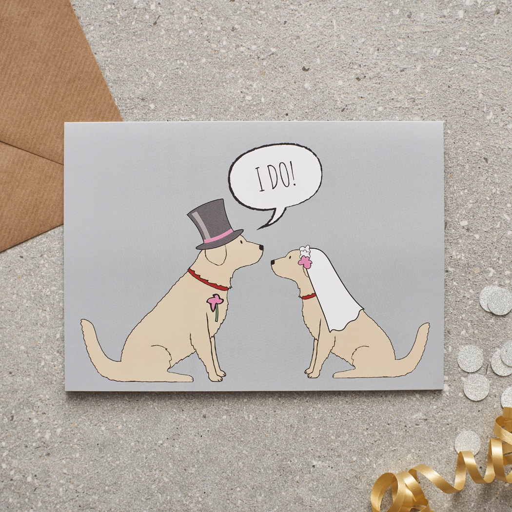 Golden Retriever Wedding Card , Mischievous Mutts > Greeting Cards , Golden Retriever