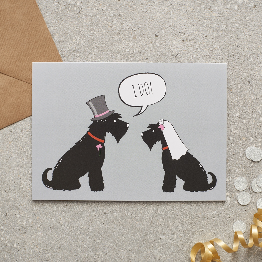 Black Schnauzer Wedding Card , Mischievous Mutts > Greeting Cards , Schnauzer