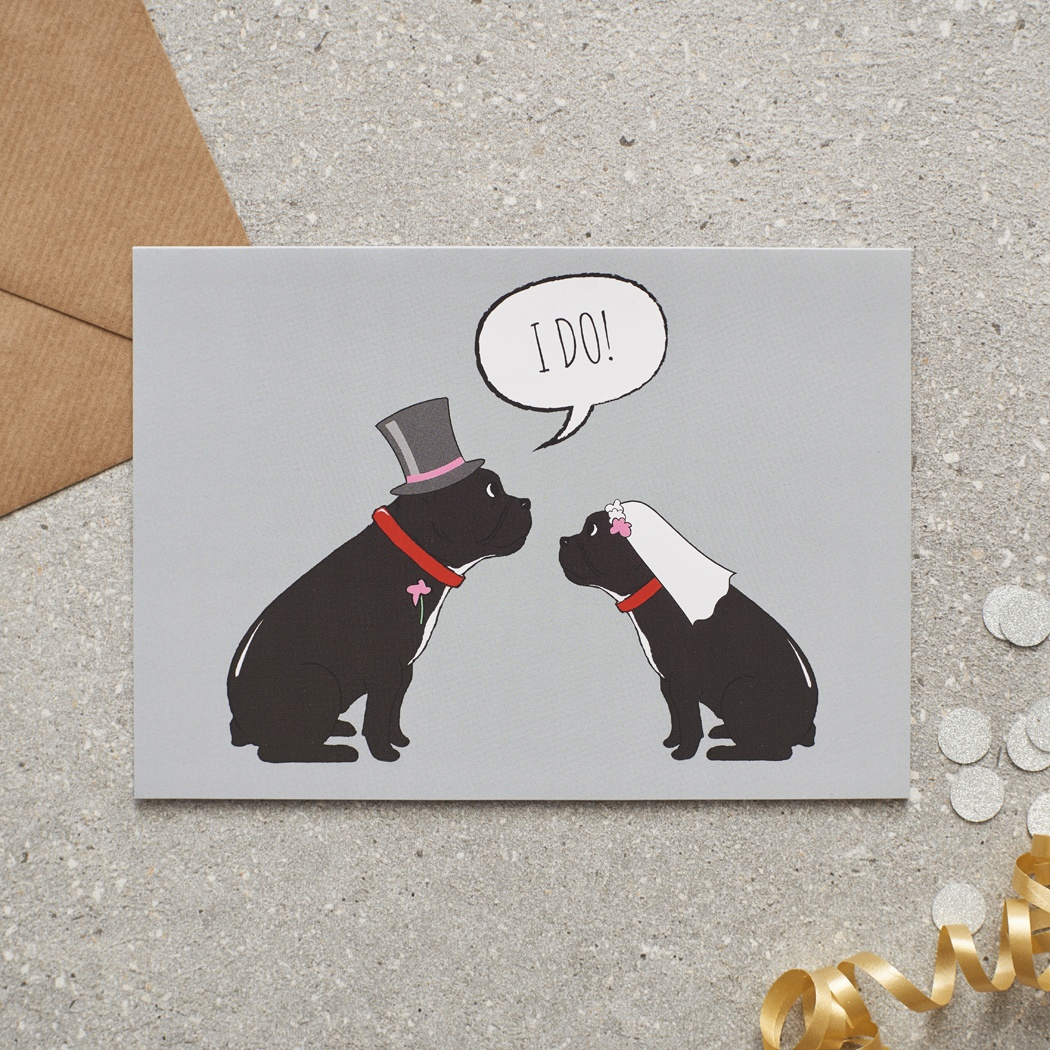 French Bulldog Wedding Card , Mischievous Mutts > Greeting Cards , French Bulldog
