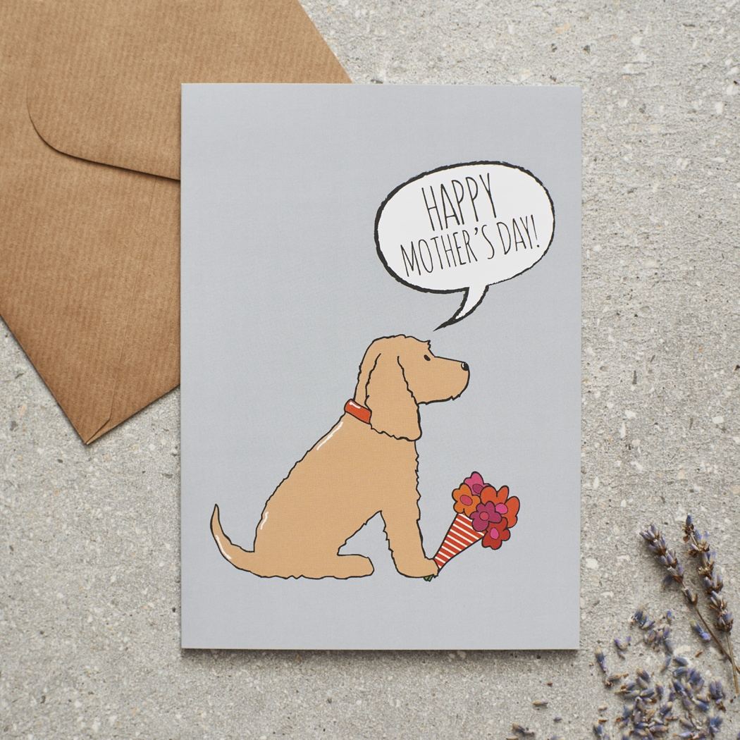 Cocker Spaniel (golden) Mother's Day Card , Mischievous Mutts > Greeting Cards , Cocker Spaniel