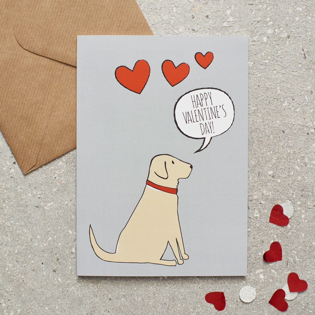 Yellow Labrador Valentine's Day Card , Mischievous Mutts > Greeting Cards , Yellow Labrador