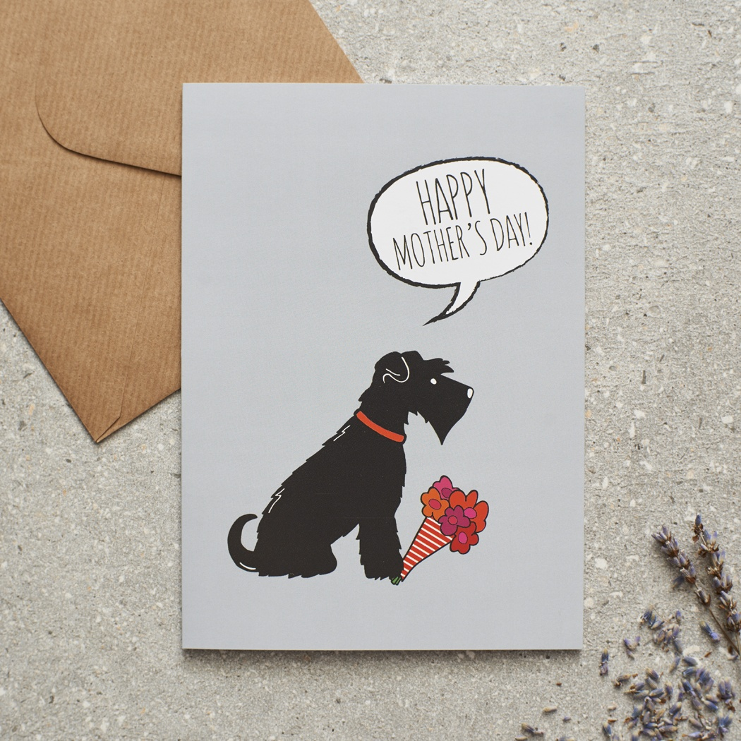 Black Schnauzer Mother's Day Card , Mischievous Mutts > Greeting Cards , Schnauzer
