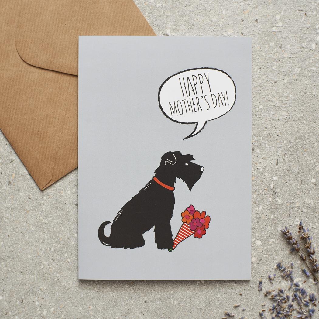 Black Schnauzer Mother's Day Card , Mischievous Mutts > Greeting Cards , Schnauzer