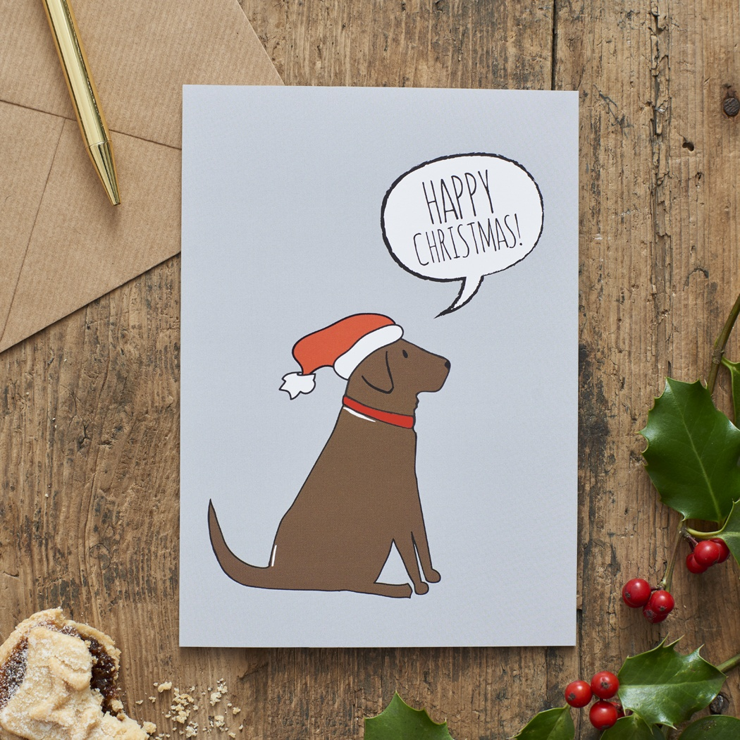 Chocolate Labrador Christmas Card , Mischievous Mutts > Greeting Cards , Chocolate Labrador