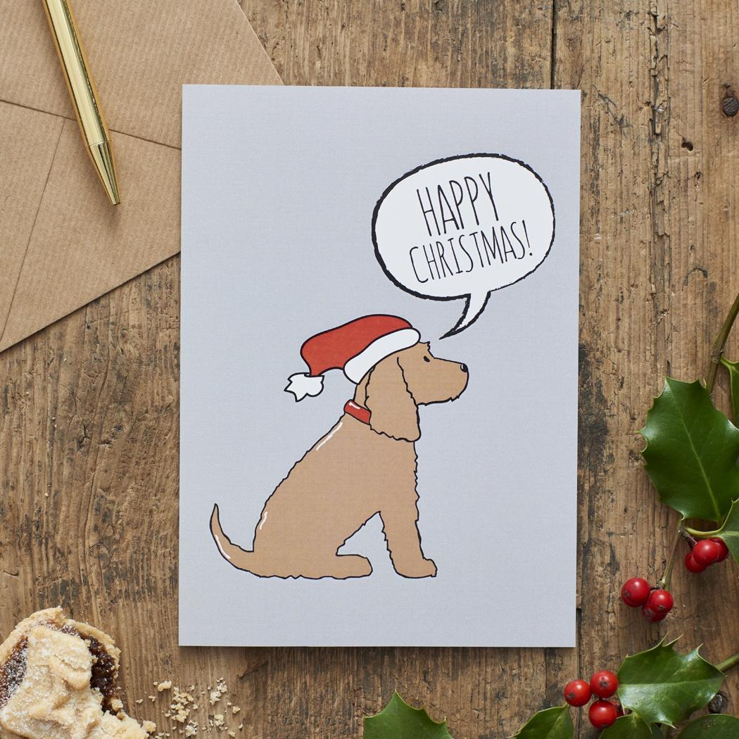 Cocker Spaniel (golden) Christmas Card , Mischievous Mutts > Greeting Cards , Cocker Spaniel