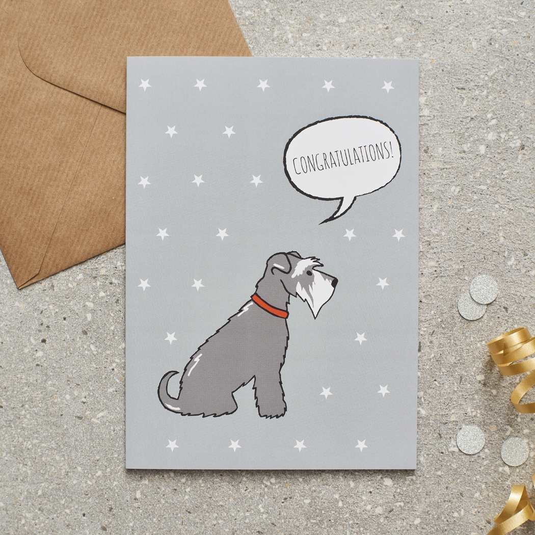 Grey Schnauzer Congratulations Card , Mischievous Mutts > Greeting Cards , Schnauzer