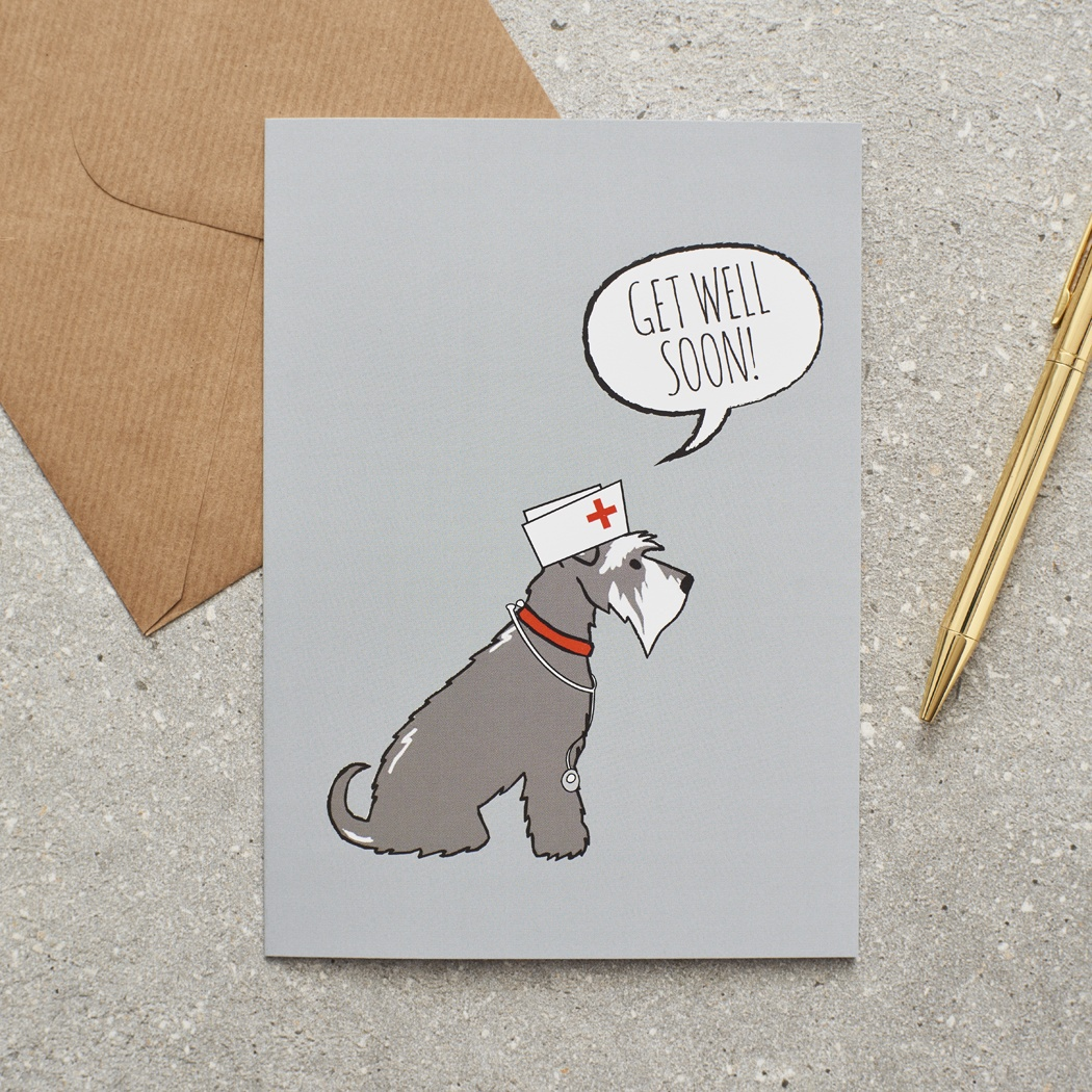 Grey Schnauzer Get Well Card
