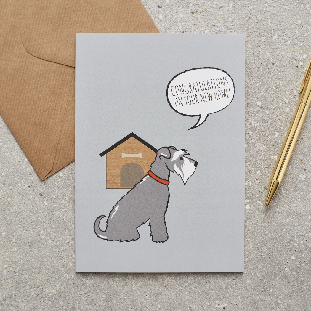Grey Schnauzer New Home Card , Mischievous Mutts > Greeting Cards , Schnauzer