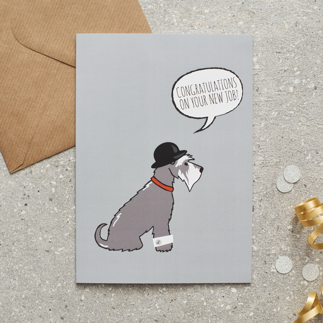 Grey Schnauzer New Job Card , Mischievous Mutts > Greeting Cards , Schnauzer