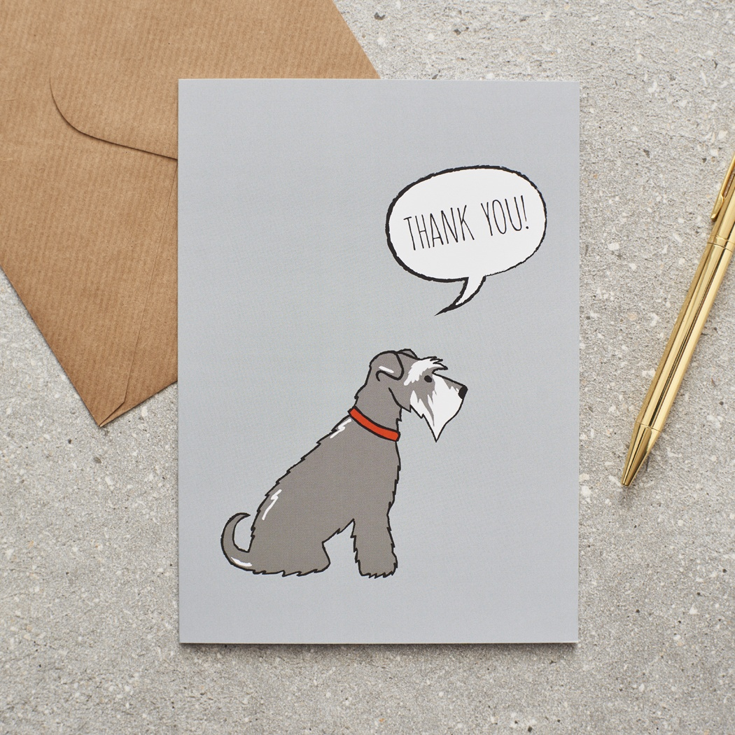 Grey Schnauzer Thank You Card , Mischievous Mutts > Greeting Cards , Schnauzer