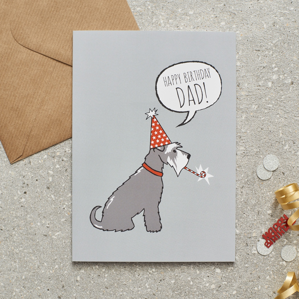 Grey Schnauzer Happy Birthday Dad Card , Mischievous Mutts > Greeting Cards , Schnauzer