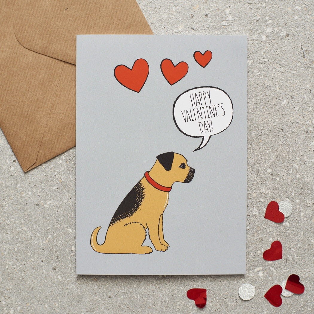 Border Terrier Valentine's Day Card , Mischievous Mutts > Greeting Cards , Border Terrier