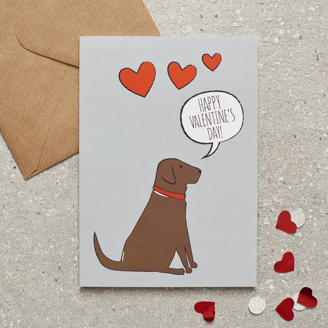 Chocolate Labrador Valentine's Day Card , Mischievous Mutts > Greeting Cards , Chocolate Labrador