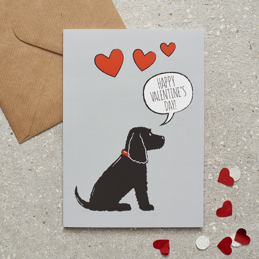 Black Cocker Spaniel Valentine's Day Card , Mischievous Mutts > Greeting Cards , Cocker Spaniel