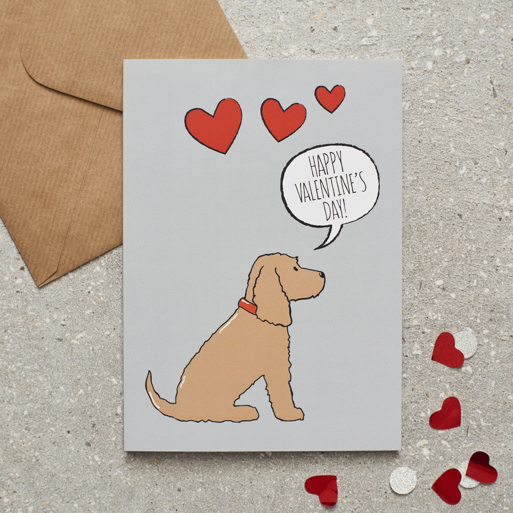 Golden Cocker Spaniel Valentine's Day Card , Mischievous Mutts > Greeting Cards , Cocker Spaniel