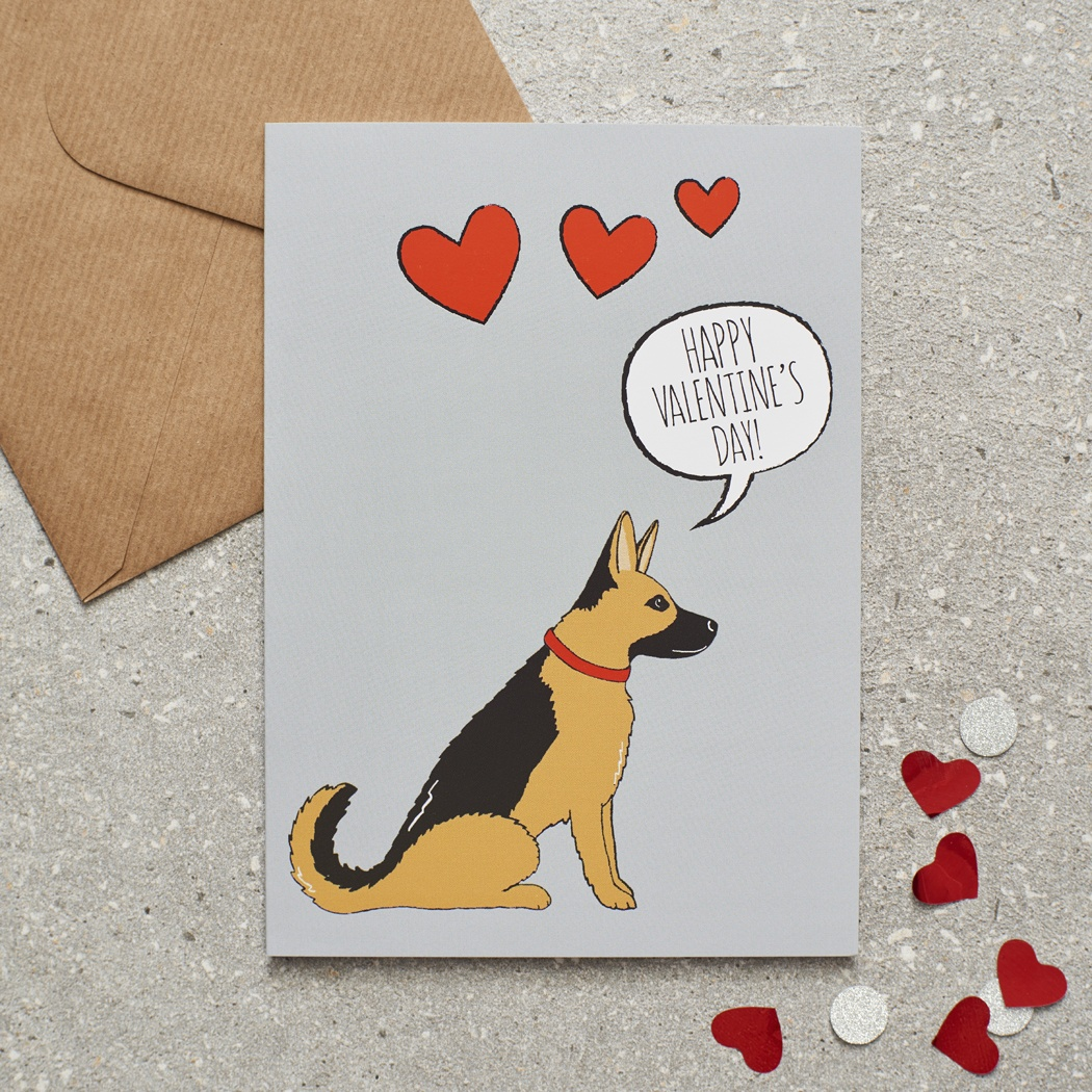German Shepherd Valentine's Day Card , Mischievous Mutts > Greeting Cards , German Shepherd