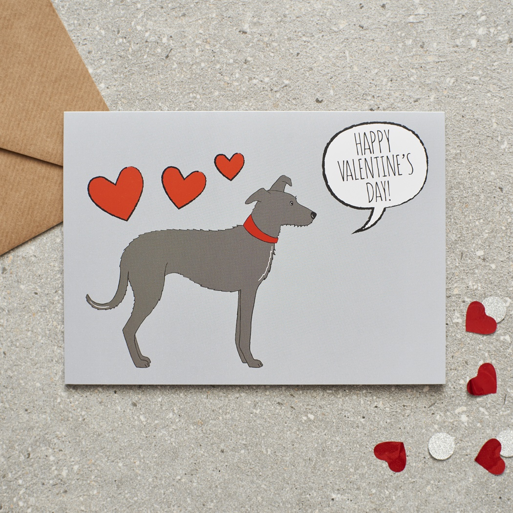 Lurcher Valentine's Day Card , Mischievous Mutts > Greeting Cards , Lurcher