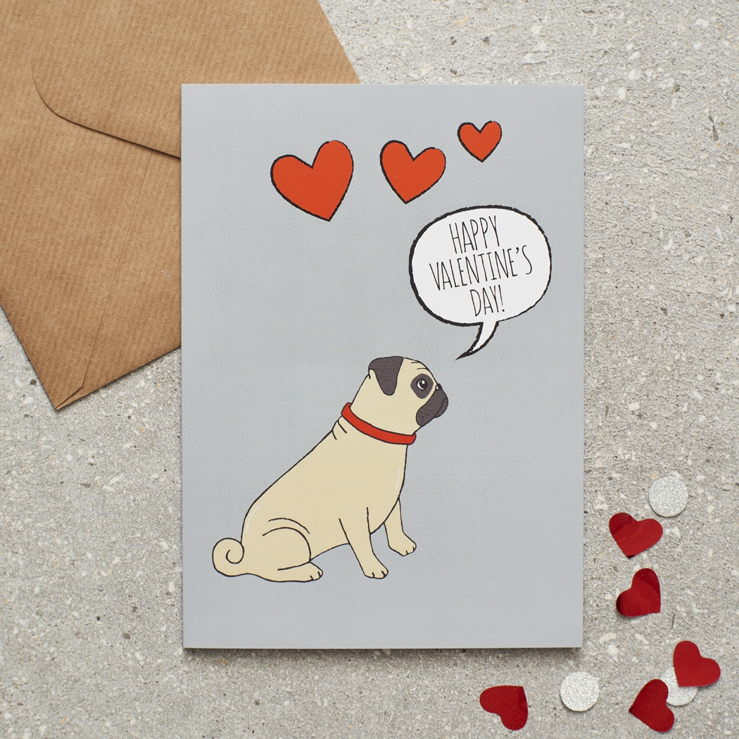 Pug Valentine's Day Card , Mischievous Mutts > Greeting Cards , Pug