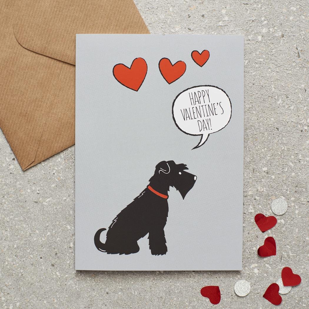 Black Schnauzer Valentine's Day Card , Mischievous Mutts > Greeting Cards , Schnauzer