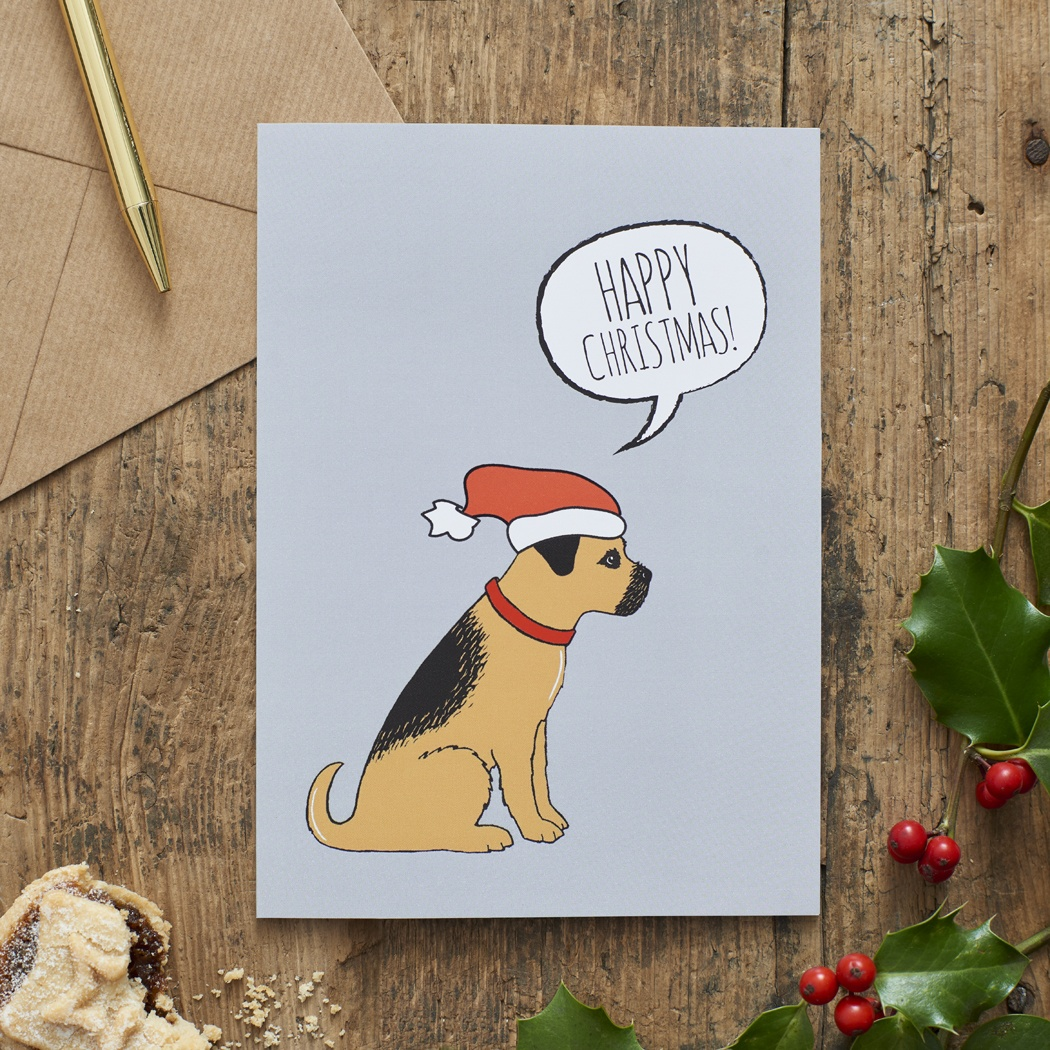 Border Terrier Christmas Card , Mischievous Mutts > Greeting Cards , Border Terrier
