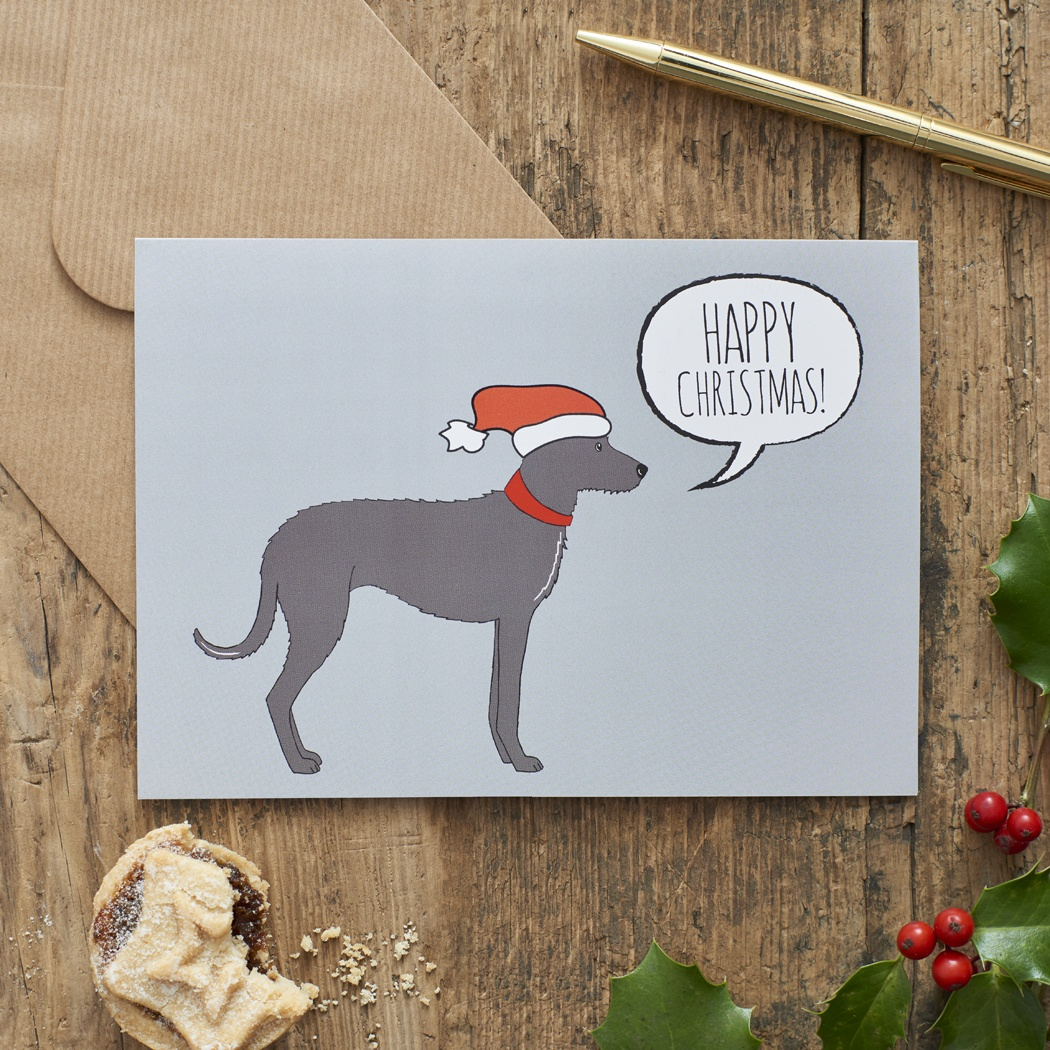 Lurcher Christmas Card , Mischievous Mutts > Greeting Cards , Lurcher