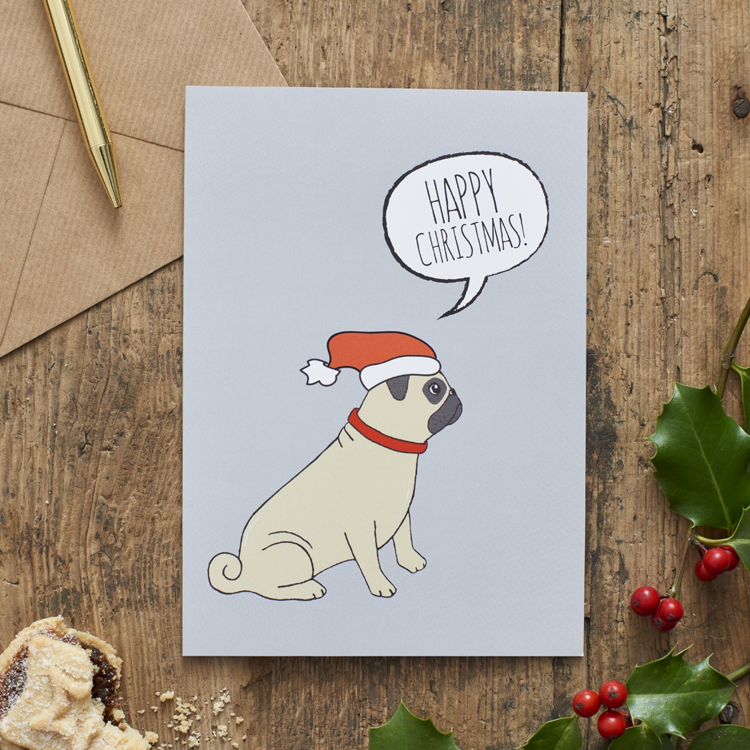 Pug Christmas Card , Mischievous Mutts > Greeting Cards , Pug