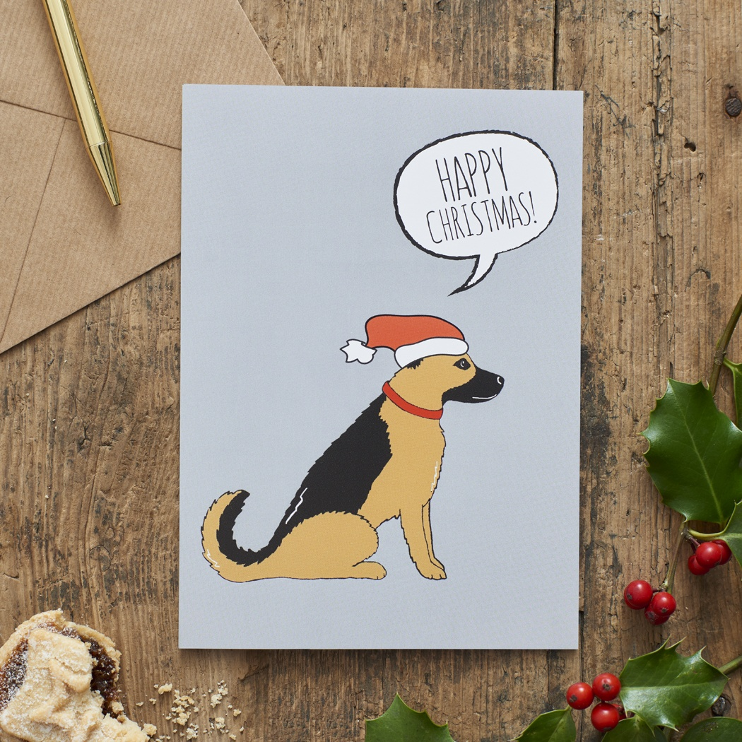 German Shepherd Christmas Card , Mischievous Mutts > Greeting Cards , German Shepherd