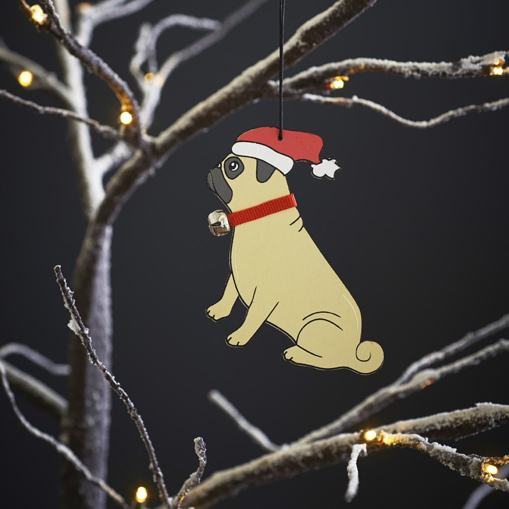 Pug dog Christmas Tree Decoration , Mischievous Mutts > Christmas Decorations , Pug