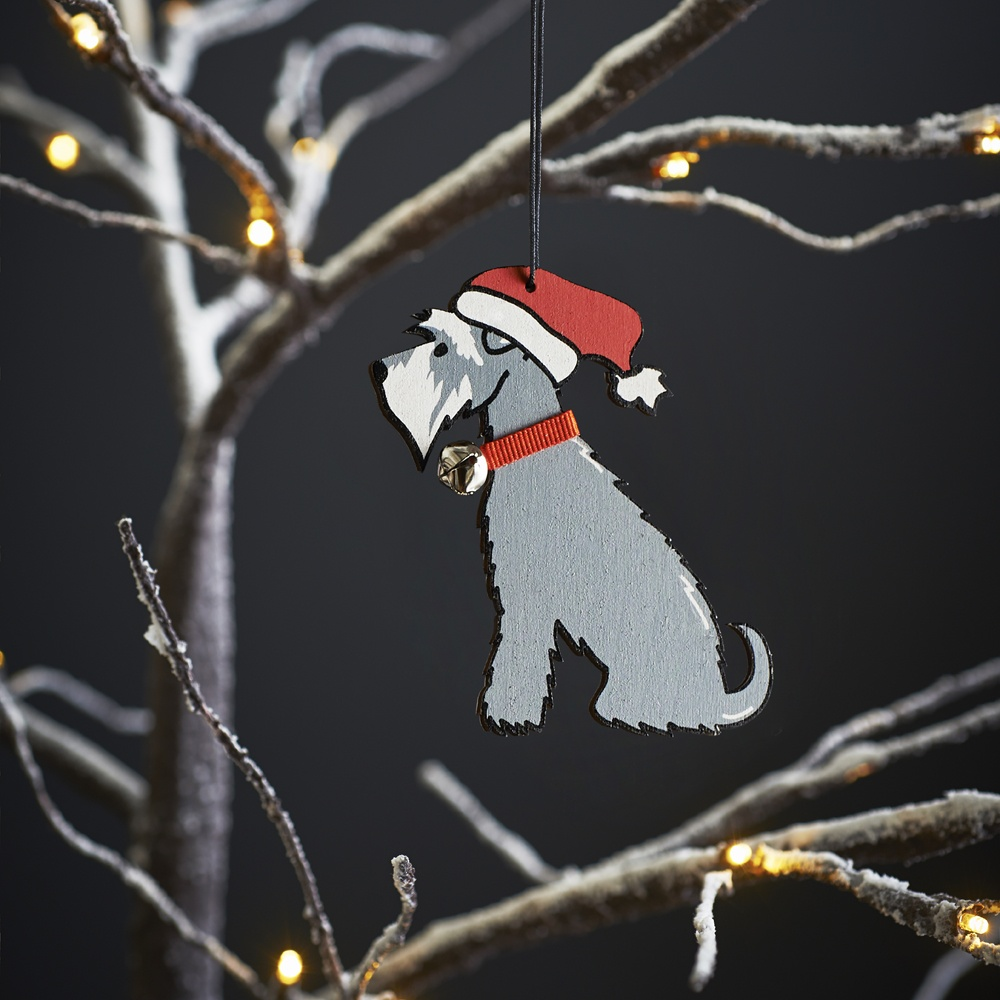 Grey Schnauzer Dog Christmas Tree Decoration , Mischievous Mutts > Christmas Decorations , Schnauzer