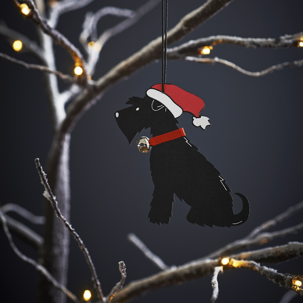 Black Schnauzer Dog Christmas Tree Decoration , Mischievous Mutts > Christmas Decorations , Schnauzer