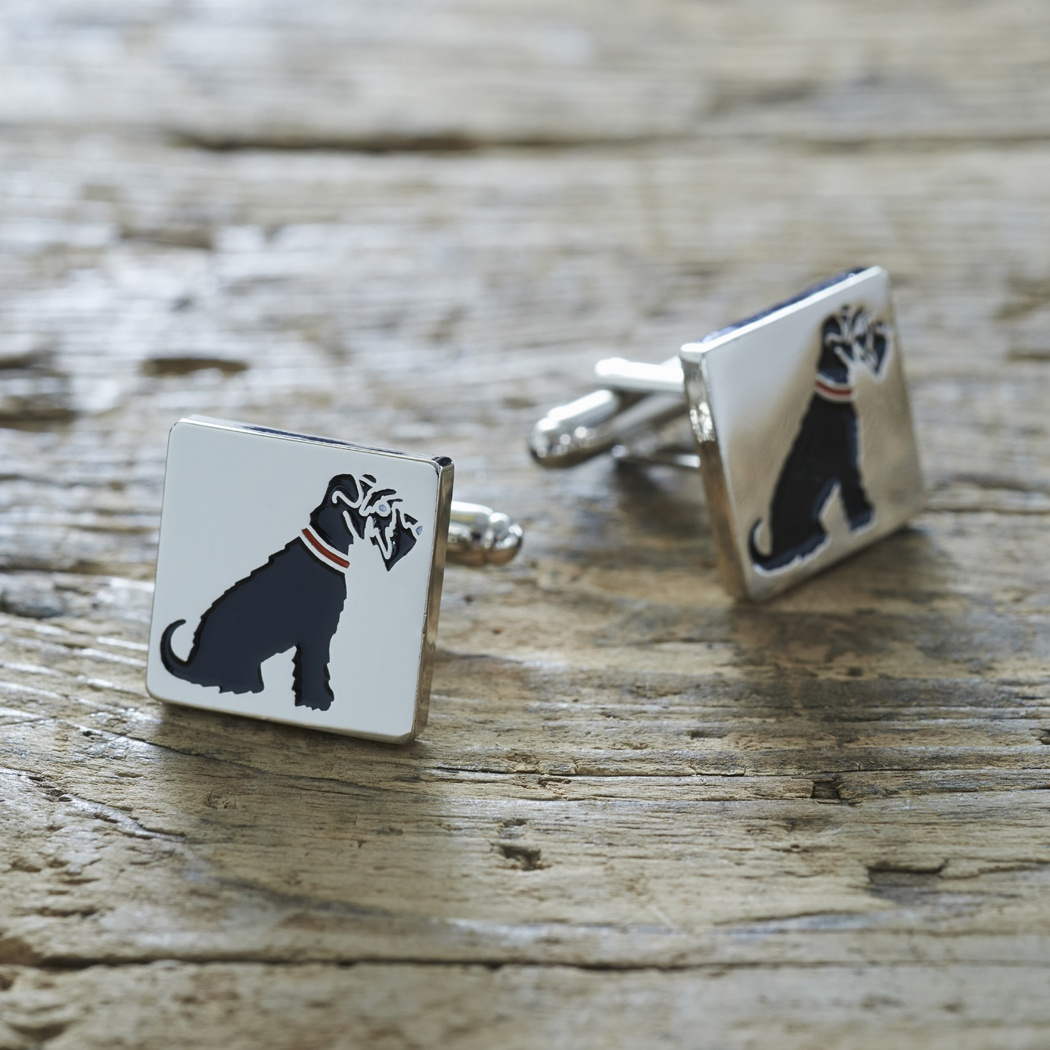 Black Schnauzer Cufflinks , Mischievous Mutts > Cufflinks , Schnauzer