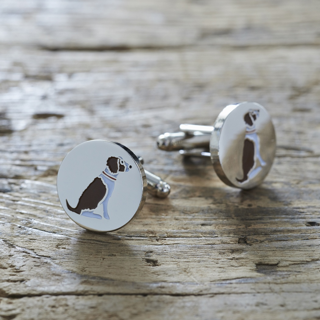 Springer Spaniel (Liver & White) Cufflinks , Mischievous Mutts > Cufflinks , Springer Spaniel