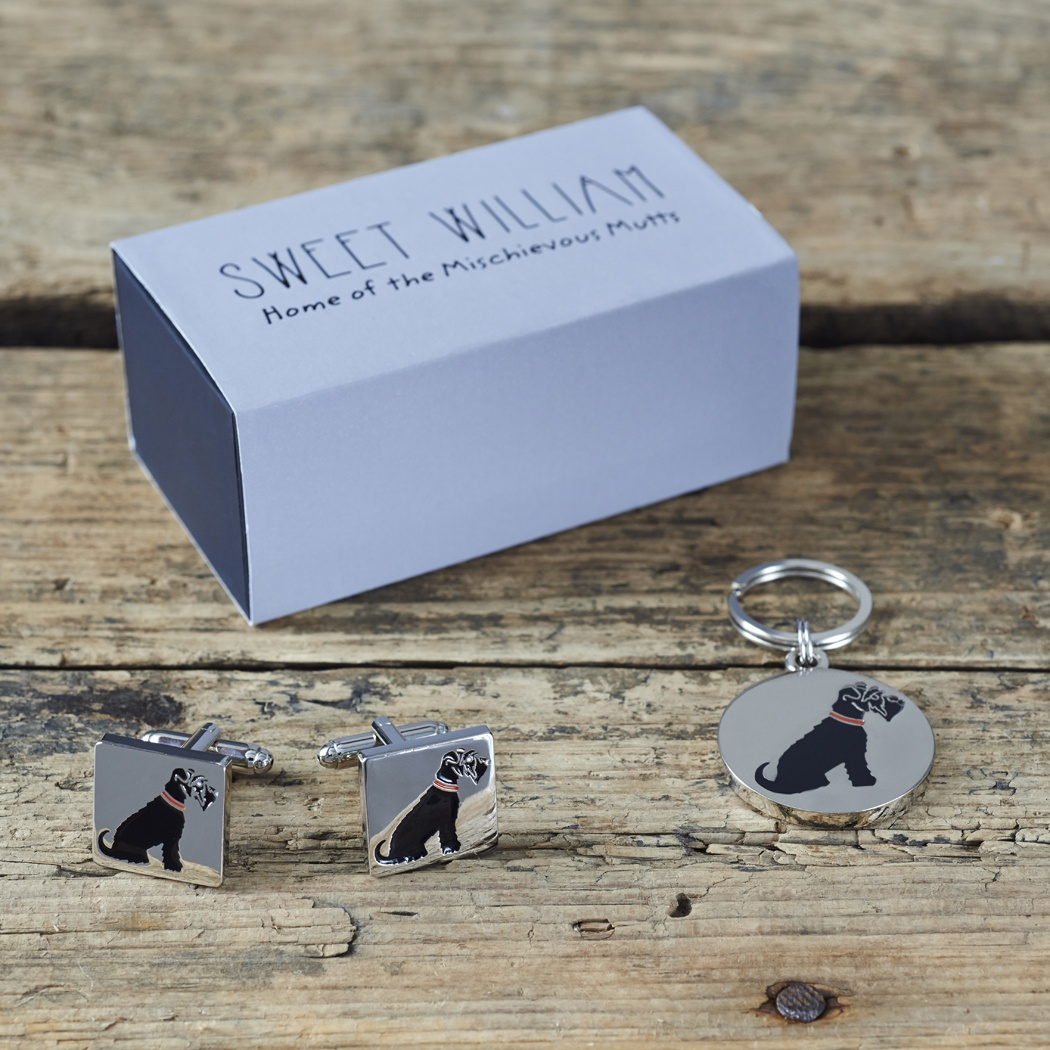 Black Schnauzer Cufflinks and Tag Gift Set , Mischievous Mutts > Daddy and Me , Schnauzer