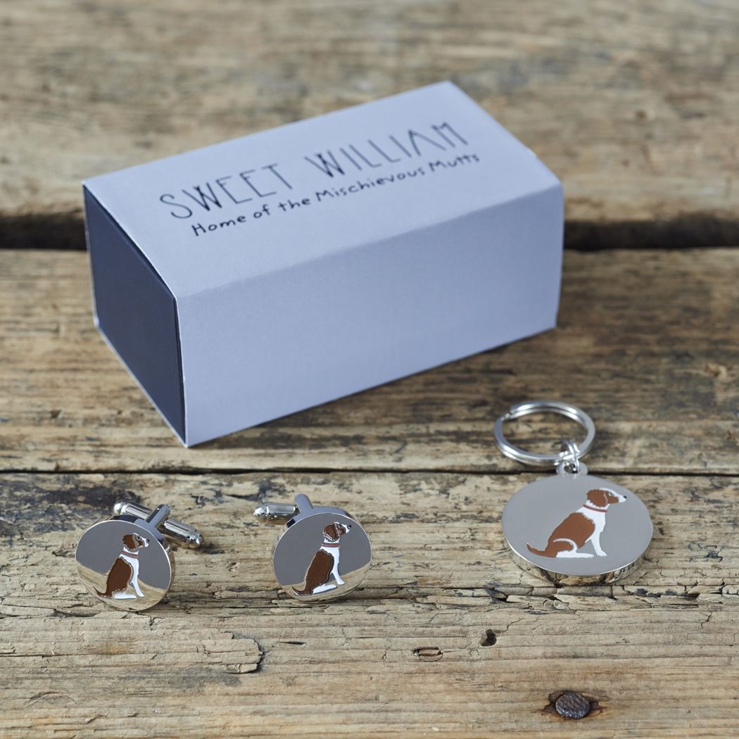 Springer Spaniel (Liver & White) Cufflinks and Tag Gift set , Mischievous Mutts > Daddy and Me , Springer Spaniel