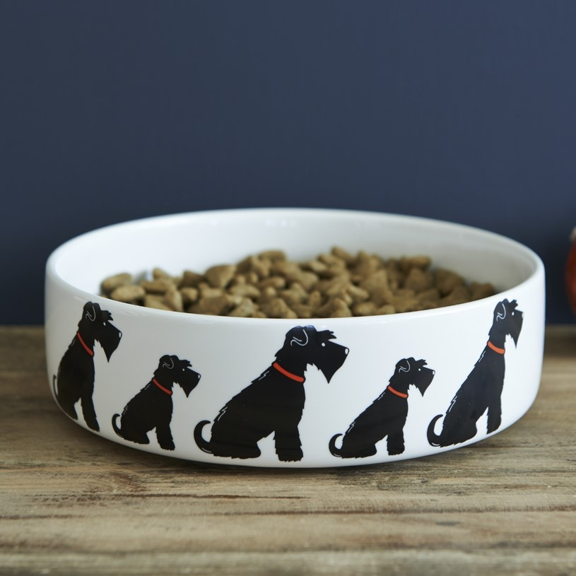Black Schnauzer Dog Bowl , Mischievous Mutts > Dog bowls , Schnauzer