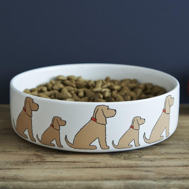 Golden Cocker Spaniel Dog Bowl , Mischievous Mutts > Dog bowls , Cocker Spaniel