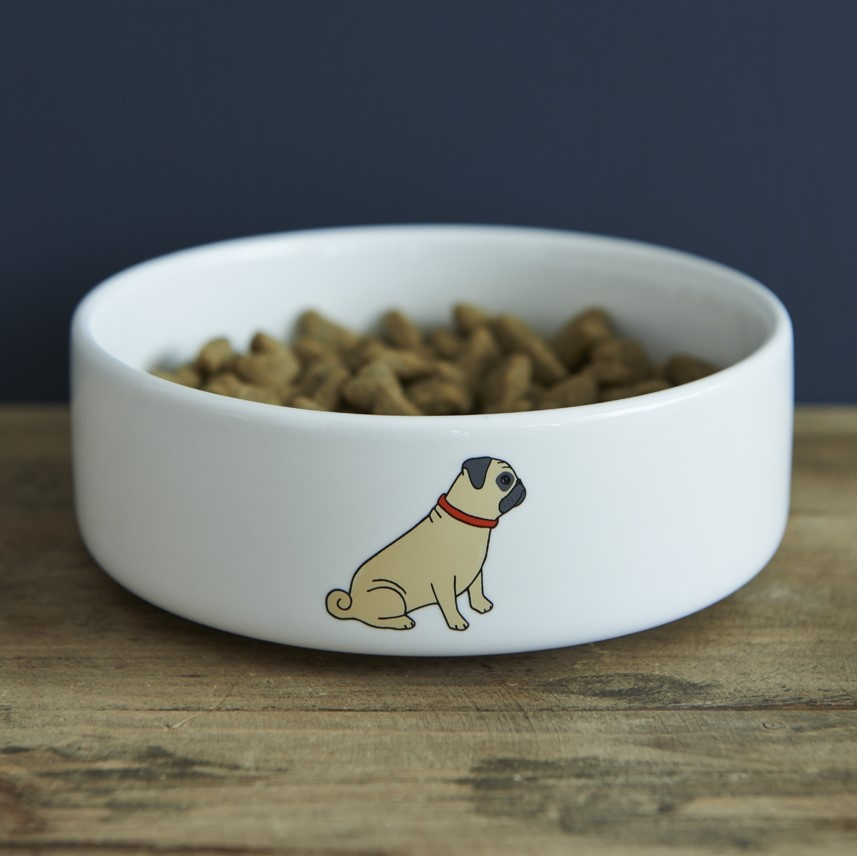 Pug Dog Bowl , Mischievous Mutts > Dog bowls , Pug