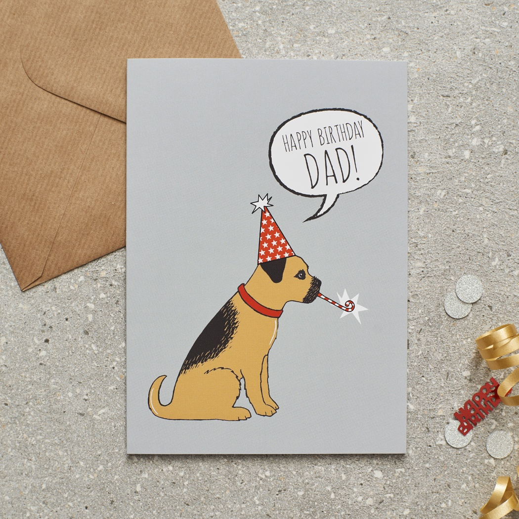 Border Terrier Happy Birthday Dad Card , Mischievous Mutts > Greeting Cards , Border Terrier