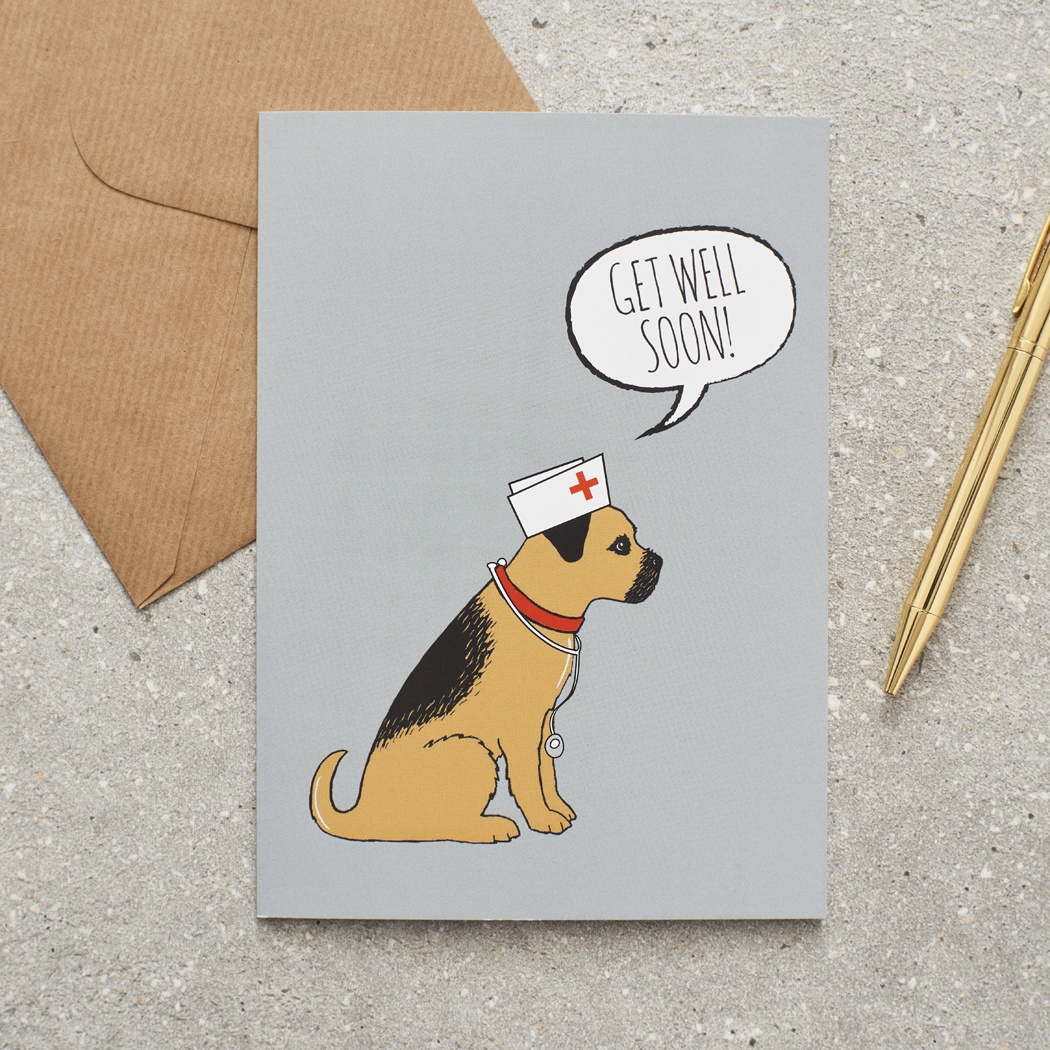 Border Terrier Get Well Soon Card , Mischievous Mutts > Greeting Cards , Border Terrier